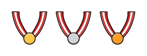 Set collection of medal cartoon icon illustration. design isolated flat cartoons style