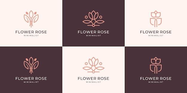 セットコレクションミニマリストの花と葉のロゴデザインフェミニンな高級ラインアート。