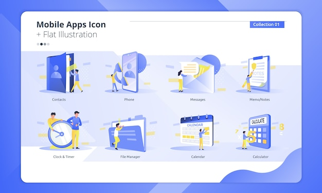 Set of collection mobile apps icon with flat illustration