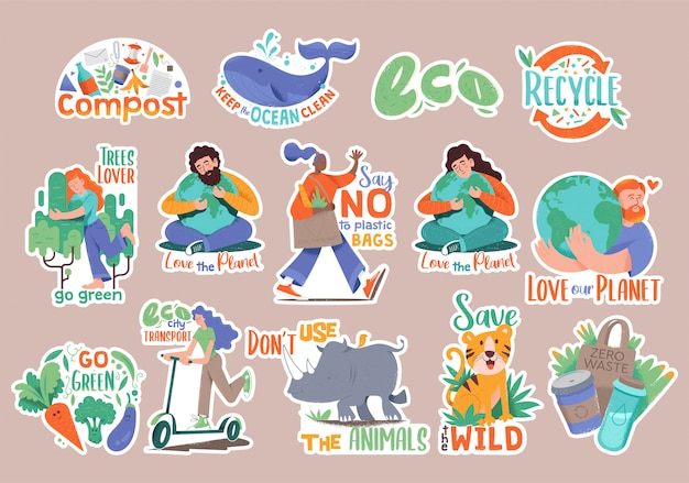 Set collection of modern doodle hipster stickers with many eco friendly people.