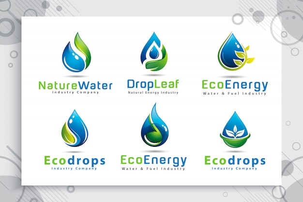 Set collection of nature water drop logo with modern style color concept.