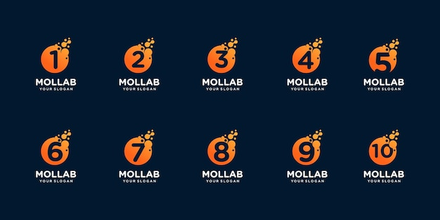 Set of collection number with dot and molecule concept logo template.