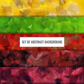 抽象的な色のポリゴンの背景デザインのコレクションを設定します。