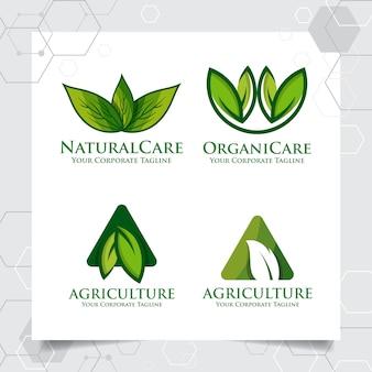 농업 로고 템플릿 디자인의 컬렉션을 설정