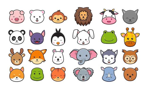 動物の頭の漫画アイコンクリップアートイラストのコレクションを設定します。孤立したフラット漫画スタイルをデザインする