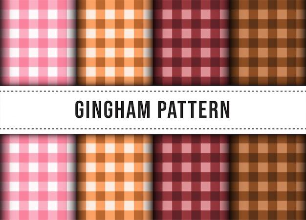 체크 무늬 깅엄 라인 식탁보 완벽 한 패턴의 컬렉션을 설정합니다.