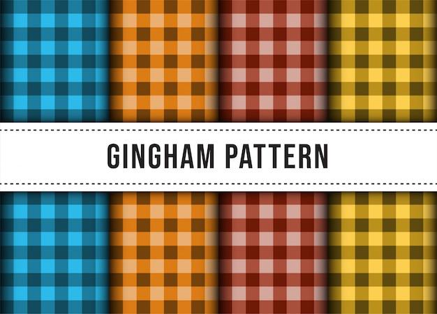 市松模様のギンガムチェックのラインテーブルクロスのシームレスパターンのコレクションを設定します。