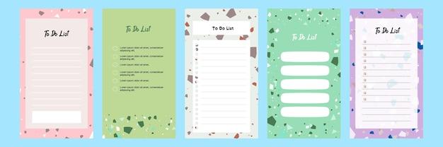 테라조 패턴이 있는 소셜 미디어 스토리에 대한 목록 템플릿을 수행하기 위해 다채로운 블랭크 컬렉션 설정