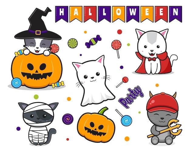 かわいい猫のお祝いハロウィーン落書き漫画クリップアートアイコンイラストのコレクションを設定します。