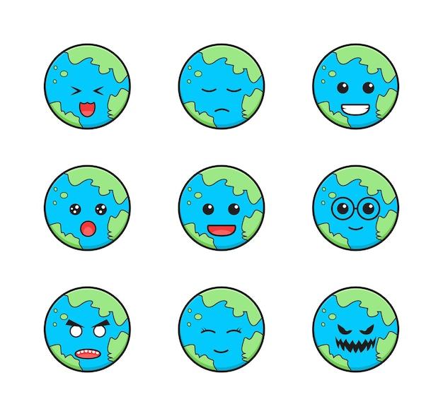 귀여운 지구 이모티콘 만화 아이콘 그림의 컬렉션을 설정합니다. 디자인 고립 된 평면 만화 스타일