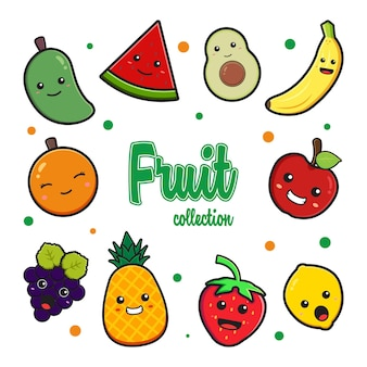 Установить коллекцию милых фруктов каракули мультфильм клипа значок иллюстрации дизайн плоский мультяшном стиле