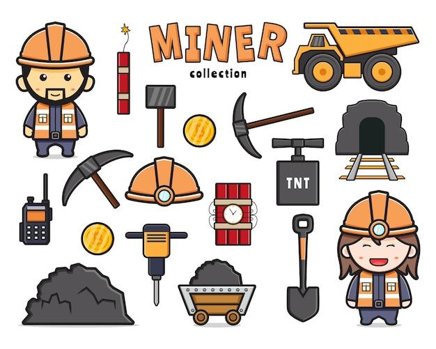 かわいい鉱山労働者と機器の落書きクリップアート漫画アイコンイラストフラット漫画スタイルデザインのコレクションを設定します。