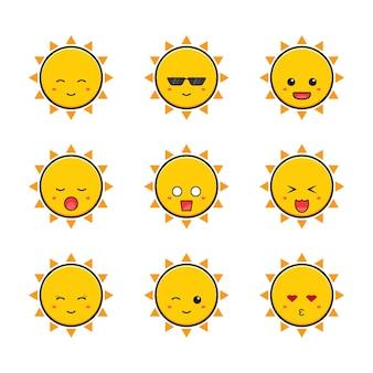 귀여운 태양 이모티콘 만화 아이콘 그림의 컬렉션을 설정합니다. 디자인 고립 된 평면 만화 스타일