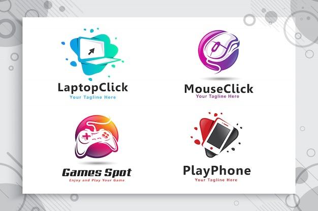 モダンなスタイルのコンセプトを持つ電子的でカラフルなゲームスポットロゴのコレクションを設定します。