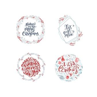 クリスマスのテキストで手描きのクリスマスリースのコレクションを設定します。モミの枝、赤い実、葉。