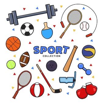 스포츠 장비 만화 클립 아트 아이콘 그림 디자인 평면 만화 스타일의 컬렉션을 설정