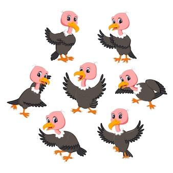 Установить коллекцию мультфильма vulture Premium векторы