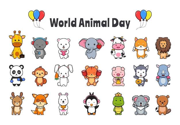 世界動物の日のお祝い漫画アイコンイラストのコレクションを設定します。孤立したフラット漫画スタイルをデザインする