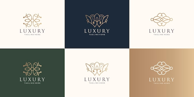 Set of collection ornament logo. line art style design,abstract shape,creative concept,decoration.
