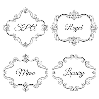 Set collection of ornamental vintage frames with sample text