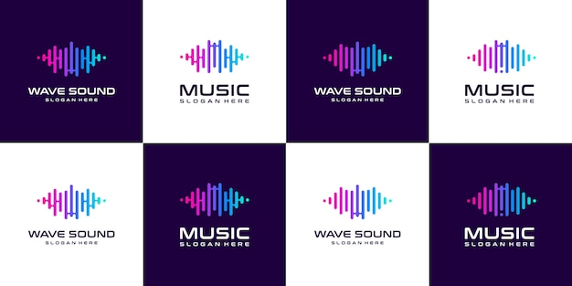 Set of collection pulse music equalizer logo.