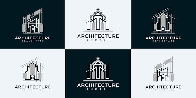 컬렉션 부동산 로고 디자인 템플릿을 설정합니다.