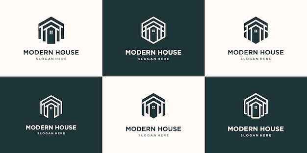 Set collection real estate minimalist icon home polygon line art style