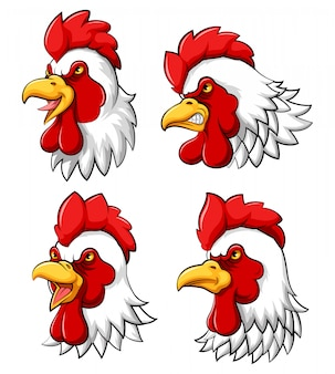 Set collection of rooster head mascot