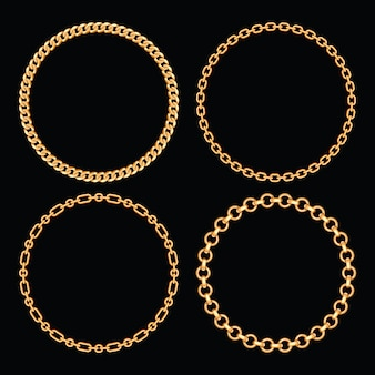 Set collection of round frames made with golden chains. on black. vector illustration.