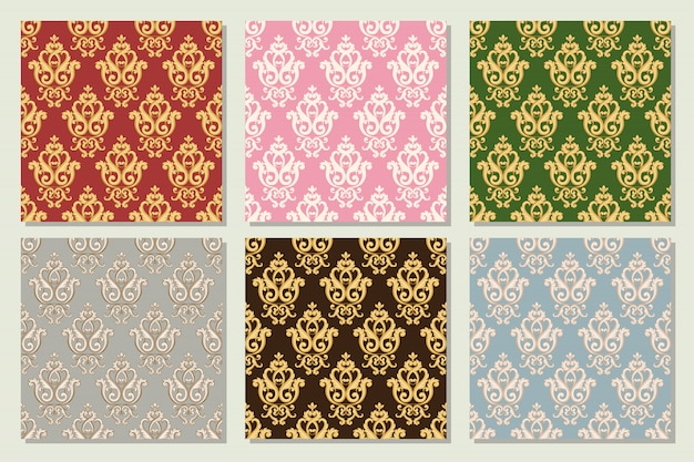 Set collection of seamless damask patterns in different colors. textures in vintage rich royal style. vector illustration.