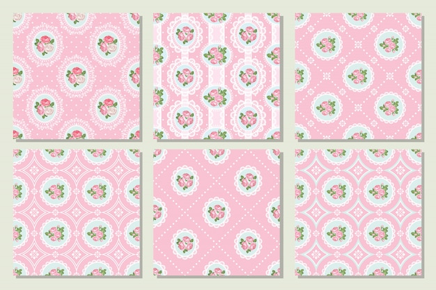 Set collection of shabby chic rose seamless pattern in pink color