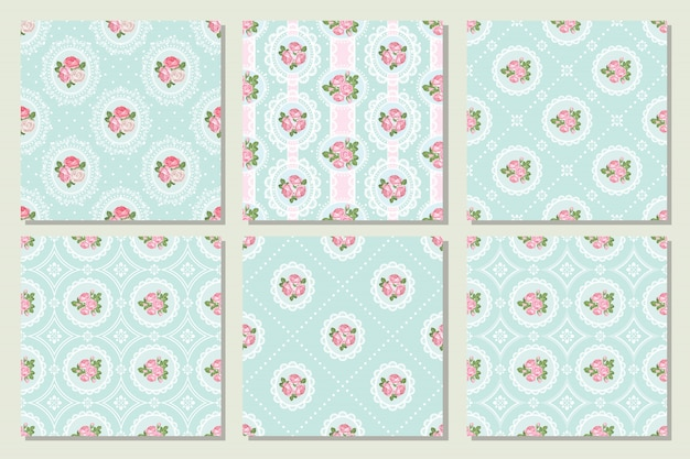Set collection of shabby chic rose seamless pattern.