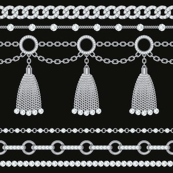Set collection of silver metallic chain borders with gemstones and tassels.