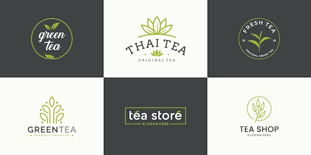 Set collection tea leaf logo design template. logotype for tea shop, tea store, packaging product.
