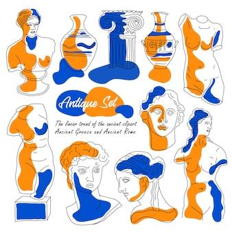 セットコレクション。古代のイラスト、古代ギリシャと古代ローマの線形傾向。