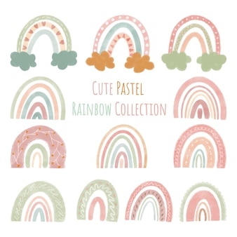 Set collection of vector illustrations cute rainbows in a simple style pastel color