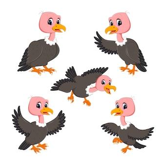 Набор коллекция vulture мультфильм Premium векторы