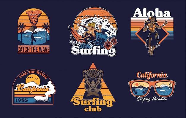 ビンテージサーフィンと夏の楽園のプリントデザインのセットコレクション。