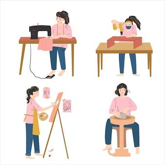Set collection of woman hobby. art, craft, creativity concept Premium Vector
