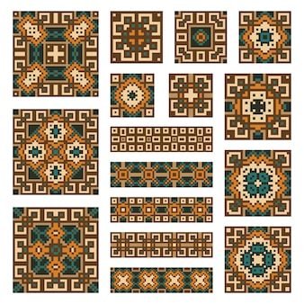 Set collections of geometrical abstract ornaments. ethnic patterns