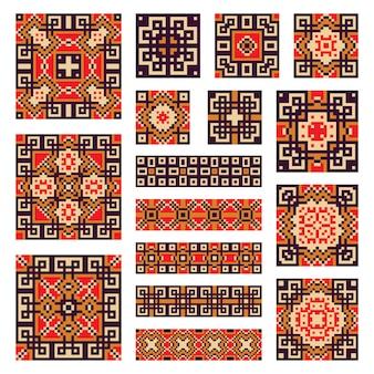 幾何学的な境界線とタイルのコレクションを設定する