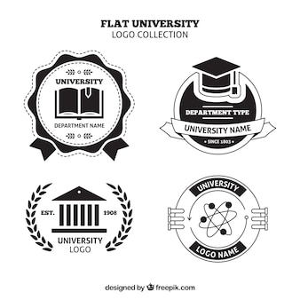 Set of college logos in black and white