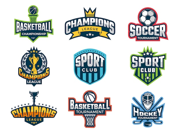 Set of college team cup competitions athlete recreation badges