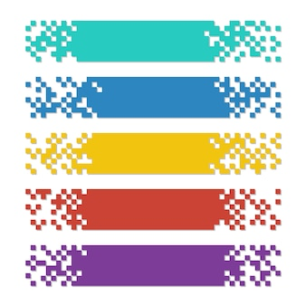 Set of color abstract pixel web banners with shadows for headers