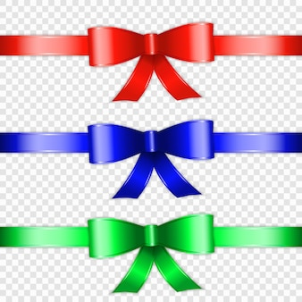 Set of color bow knot and ribbon isolated on transparente background
