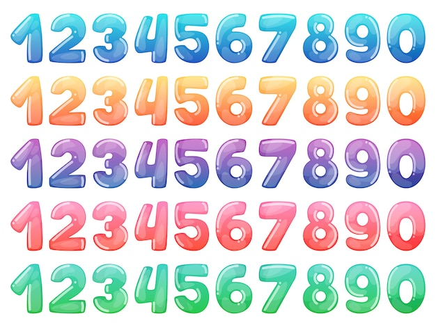Set of color cartoon numbers. rainbow candy and glossy funny cartoon symbols.