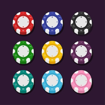 Set Color Casino Poker Chips Flat Style for Game.