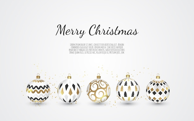 Set of color christmas balls on white background, illustration.
