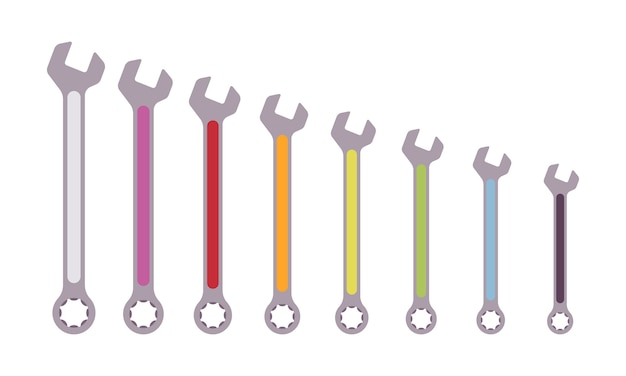 Set of color coded combinational wrenches