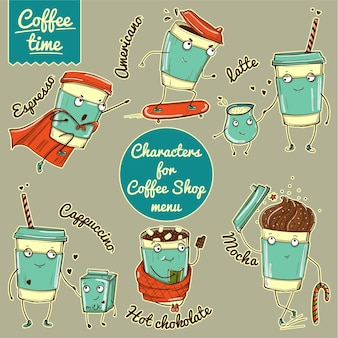 Set of color coffee cup characters for coffee shop branding.